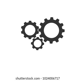 Three gear sign icon on white background