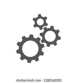 Three gear sign simple icon on white background