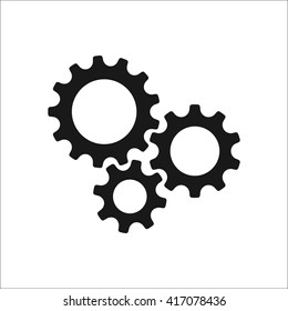 Three gear sign simple icon on  background