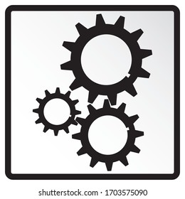Three gears icon flat. Vector infographic element for design presentations. Isolated background.