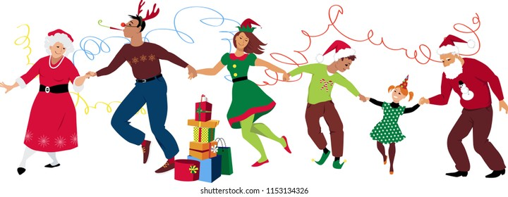 Three generation family in Christmas costumes dancing and celebrating together, EPS 8 vector illustration