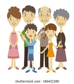 Three generation family /vector illustration