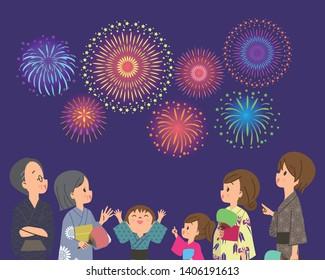 Three generation family watch fireworks