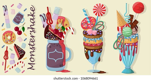 Three giant milkshakes with donut, lollipop, chocolate cake, cherries, marshmallows, donuts, ice-cream. Monstershakes, freakshakes, crazyshakes vector illustration isolated.
