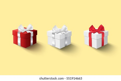 Three gift boxes template with ribbon bow on a yellow background. Vector set, eps10