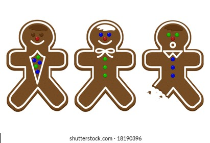 Three gingerbread men with a bite out of one.