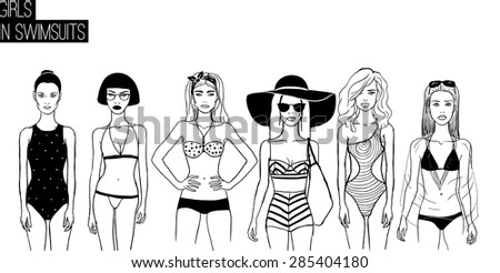 95dbd9f371c5f Three girls in bikini swimsuits set. May be used as invitation to the  party. - Vector