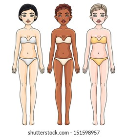 Three girls from different ethnic groups in underwear. Female body proportions, front.