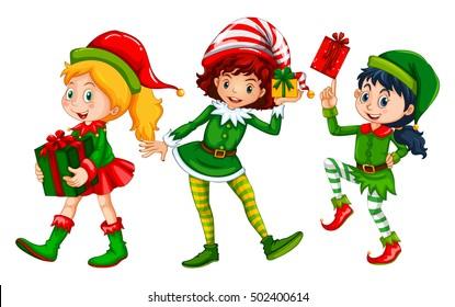 Three girls dressed in elf costume for Christmas illustration