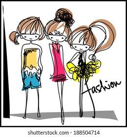 three girls fashion show cartoon look vector file set
