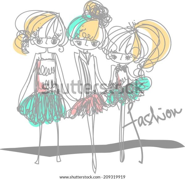 three girls fashion show cartoon look vector file set (with big eye set)