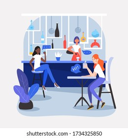 Three girls, friends, students or colleagues sitting in a nice café, restaurant or bar, drinking soda, having a conversation, talking, sharing their thought and ideas. Vector cartoon flat illustration