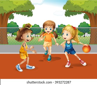 Three girls playing basketball in the court illustration