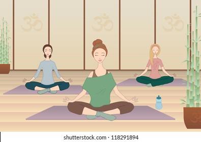 Three girls practicing yoga