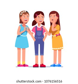 Three girls stand together and talking. One excited girl whispers secret or gossip to two listening smiling girlfriends. Group of kids share intimate secrecy. Flat character vector illustration