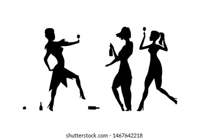 Three Girls, womens. Ladys drinking. Drunk people, drunk party event, vector silhouettes. Bachelor holiday, illustration on white background. Stag party. Eps 10