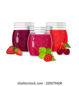 Three glass jars of jam with berries. Flat style vector illustration isolated on white background.