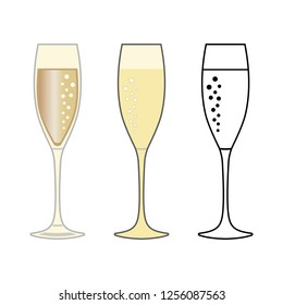 Three glasses of champagne, icons. Abstract concept. Vector illustration on white background.