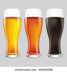 Three Glasses of different beer. dark beer, red beer