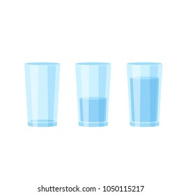 Three glasses of water. Empty, full and half vector illustration on white background