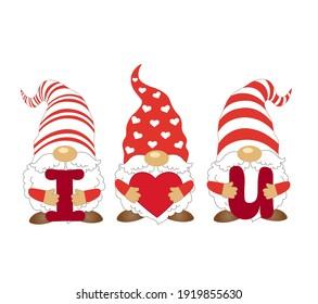 Three Gnomes svg. Gnomes svg. Gnomes eps. Gnomes with hearts. Hearts svg, png. Shirt design.