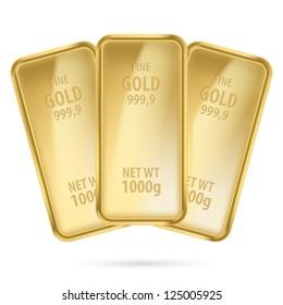 Three gold bars.  Illustration on white background