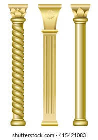 Three gold support columns in the style of oriental traditional architecture