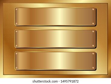 three golden banner on textured background