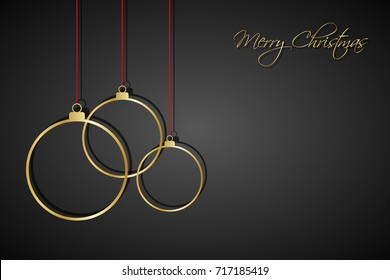 Three golden christmas balls with red strings on black background, holiday greeting card with merry christmas sign