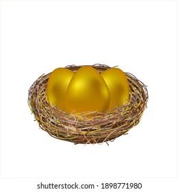 Three golden easter eggs in nest on white background