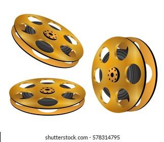 Three golden film reel.