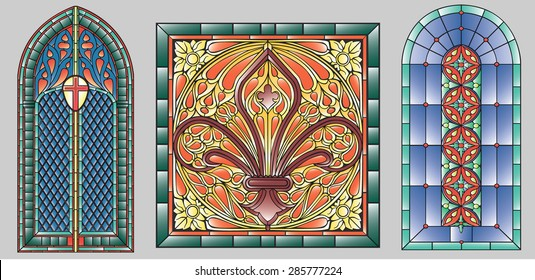 Three gothic stained glass windows