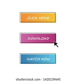 three gradient buttons with text and black stroke