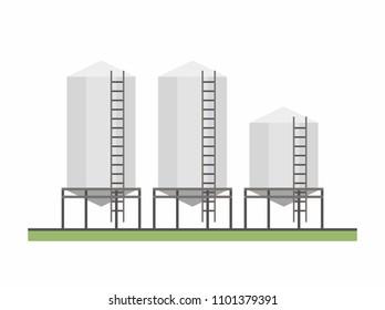 Three Granary, flat style. vector background