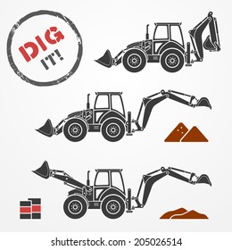 Three gray excavator silhouettes with dirt and barrels