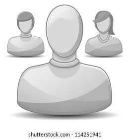 Three gray icons with shadow and gloss. Set could be used for forum, chat, application or customer default profile icons. Set contains male and female icon and default icon with no gender specified.