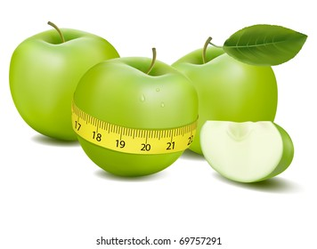 Three green apples measured the meter. Vector.