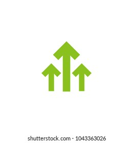 three green arrows up icon. Isolated on white. Upload icon.  Upgrade sign. Growth symbol. North pointing arrow.