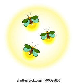 Three green fireflies with a yellow glow. A simple stylized drawing. Isolated. White background