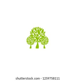 Three green flat trees with sharp leaves isolated on white. organic symbol. Natural, fresh, eco logo. Wild nature.  environment day logo. Earth day or Arbor day icon. Vector illustration. Clip art