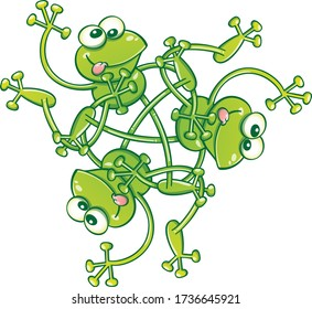 Three green frogs having fun, making funny faces and waving while creating a complex choreography. They create a rotational pattern that ends by having them totally tangled in a three-sided figure