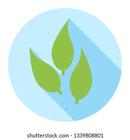 Three green leaves icon in flat vector design style