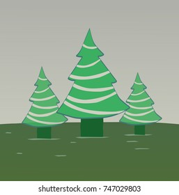 Three green pine trees with garlands