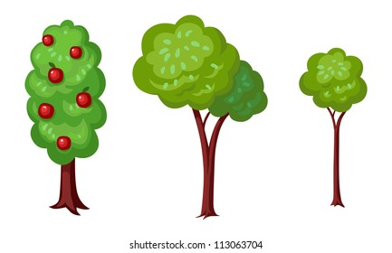Three green trees