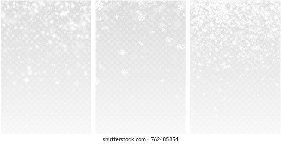 Three grey blurred winter backgrounds with snowflakes. Vector illustration.