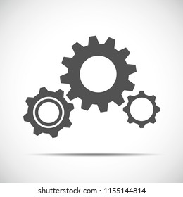 three grey gears business symbol teamwork vector illustration EPS10