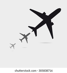 Three Growing Airplane Silhouette With Little Shadow, Can Be Used As A Poster