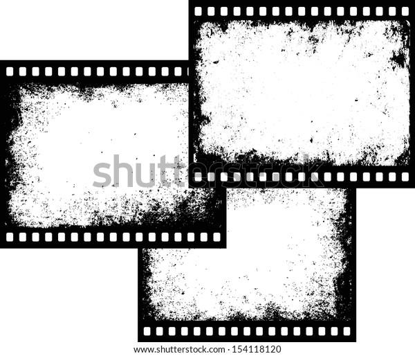 three grunge film frames with transparent space insert