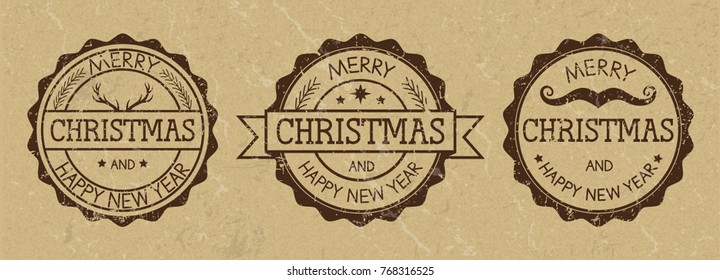 """Three grunge stamps with inscription """"Merry Christmas and Happy new year"""" on old paper background. Wild west style. Vector illustration."""