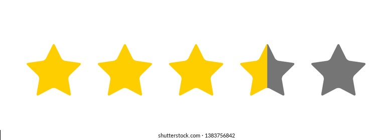 Three And A Half Star Rating Illustration Vector